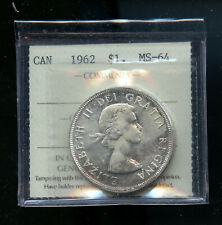 1962 Canada Silver Dollar ICCS Certified MS64 DCB124