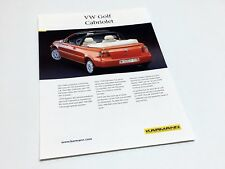 1998 Karmann VW Volkswagen Golf Cabriolet Information Sheet Brochure