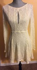NWT $128 Free People Cut Out See-Through Lace  Witch Mini Dress Shearling SZ M