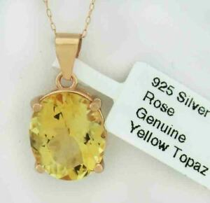 GENUINE 5.08 Cts YELLOW TOPAZ NECKLACE .925 Silver (Rose tone) * New With Tag *