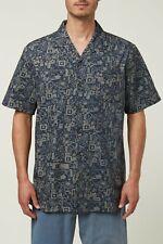 O'Neill ALOHA FRIDAY Mens Short Sleeve Button Up Shirt Large Navy NEW