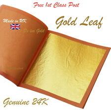 Gold Leaf Genuine 24K Large Size QTY 5 x 80mm x 80mm Sheets Best Value Gold Gild