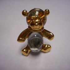 BEAUTIFUL OLD CRYSTAL TEDDY BEAR PIN / BROOCH GOLD TONE CLEAR STONE IN BELLY