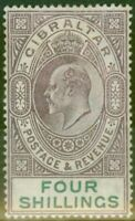 Gibraltar 1903 4s Dull Purple & Green SG53 Fine & Fresh Lightly Mtd Mint (4)