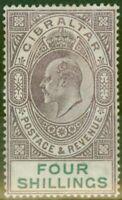 Gibraltar 1903 4s Dull Violet & Vert SG53 Fin & Frais Légèrement MTD Mint (4)