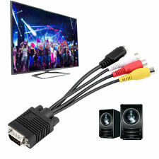 New VGA to Video TV Out S-Video AV and 3 RCA Female Converter Cable Adapter WR