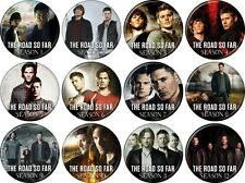 """Supernatural (TV Series) Set Of 12 Different 1 1/4"""" Buttons/Pins - Road So Far"""