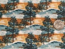 Fabric Pine Trees at Misty Dawn Teals Gold Full on Cotton 1 yard S
