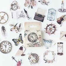 46Pcs Retro Vintage Scrapbooking Photo Album Decor DIY Paper Stickers Set Craft