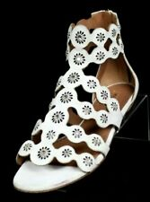 ALAIA White Suede Jeweled Cut-Out Flower Strappy Gladiator Sandals 39