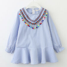 Autumn Kids Baby Girl Ruffles Long Sleeve Princess Casual Party Dresses 4-5 Years