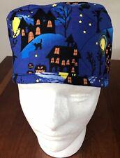 Halloween Haunted House -Men's Surgical Scrub Hat - Skull Cap