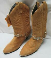 DINGO  Womens 9 M  Tan Suede Leather Western Cowboy BOOTS Bling  DI541  Low Use