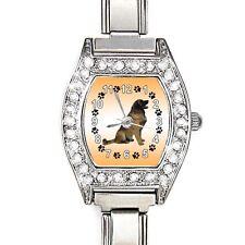 Leonberger Dog CZ Womens Stainless Steel Italian Charm Quartz Wrist Watch BJ1008