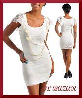 vestito donna mini abito corto pizzo c/collana bianco elasticizzato tg S,M,L