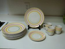 Gibson Red Yellow Green Circles Dish Set ~ 11 Piece Set ~ Plates & Cups