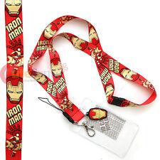 Marvel Irom man Lanyard Key Chain ID Pocket with Charm