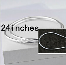"HOT 24"" 925 Sterling Silver Plated 3MM Snake Chain Fashion Men Necklace Pendants"