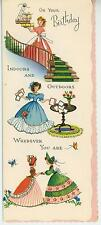 VINTAGE VICTORIAN GIRL FRIENDS FLOWERS STAIRS BIRTHDAY PRINT 1 HOPE CHEST CARD