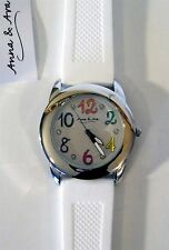Anna &Ava BOYFRIEND WATCH White Silicone Strap Austrian Crystal Accent EASY READ