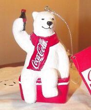 Polar Bear Sitting On Coke Cooler w/Coke Bottle Ornament - Kurt Adler- *New*