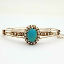 Ladies Bangle 9ct (375, 9K) Rose Gold Pearl & Turquoise Antique Bangle