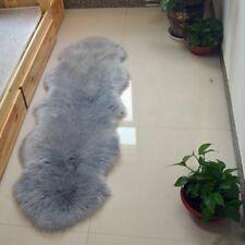 Gray Double 6'x2' Bedroom Faux Fur Carpet Imitate Sheepskin Rug Washable Mat