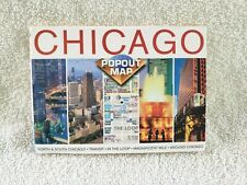GOOD COND! Compass CHICAGO POPOUT MAP North,South;Transit;In The Loop;Mag Mile