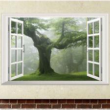 3D Big Old Green Tree Window Wall Art Sticker Vinyl Mural Home Room Decor Decals