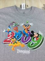 DISNEYLAND RESORT - Vtg 2009 NWT Gray T-shirt, Mickey Mouse, Goofy, LARGE - NEW!