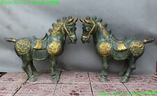 Old Chinese fengshui bronze gilt dragon phoenix bird horse Steed statue pair