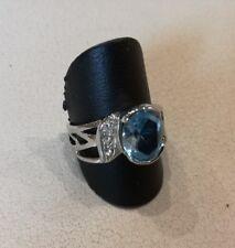 ANELLO  donna   argento 925  con  zirconi  + topazio azzurro