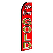 WE BUY GOLD R 3' Wide Feather Flutte Advertsing  Swooper Banner Flag Only