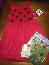 Disney Boutique Minnie Mouse Dress Sz 4 Nwt World Trip Justice Stickers Lot