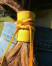 Leather Hair Wrap Ponytail Holder Tie Cuff Bohemian Clothing Black Brown Yellow