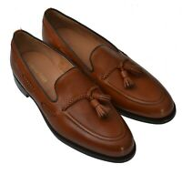 Loake Temple Brown Burnished Calf Leather Tassel Loafer UK Size 10.5 F Fitting