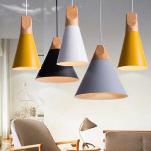 E27 Modern Wooden Pendant Ceiling Hanging Lamp Chandelier Kitchen Light Fixture