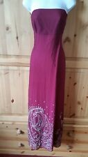 MONSOON SILK SIZE 14 RED EMBELLISHED EVENING CRUISE COCKTAIL PARTY HOLIDAY DRESS