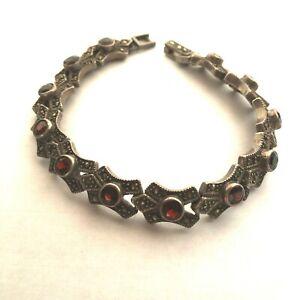 925 Sterling Silver Bracelet Almandine Garnet Marcasite
