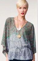 CAbi #731 Spring Arts Tunic Top Kimono Sleeve Drawstring Tie Sheer Flowy S