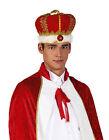 Hombre Mujer Rey Reina Medieval Tudor Royal Corona Oro Rojo Sombrero De Disfraz