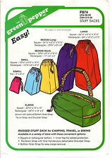 """2007 NOS Green Pepper Sewing Pattern # F874 Rugged """"Stuff Sacks"""" in 6 Sizes"""