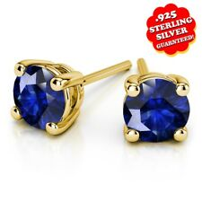 1 Ct Round Blue Sapphire Stud Earrings 14k Yellow Gold Over 925 Silver