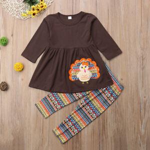 NWT Thanksgiving Turkey Girls Tunic Dress & Leggings Outfit Set 3T 4T 5T 6 7