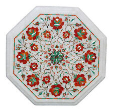 """12"""" White Marble Coffee Table Top Carnelian Stone Inlay Mosaic Marquetry Decor"""