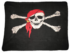 Jolly Roger Red Hat Pirate Skull and Bones 50 x 60 Polar Fleece Blanket Throw