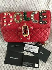 Dolce Gabbana LUCIA in Pelle & Borsa a tracolla con Patch-Rosso-Nuovo di Zecca