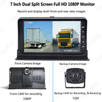 "7"" Dual Split Screen 1080P Monitor DVR Front/RearView CAM For Truck Caravan Bus"