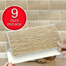 """Self Adhesive Peel & Stick Wall Tiles   Pk of 9 Easy Fit Stone Riven 8""""x4"""" Tiles"""