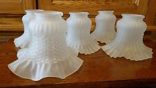 5 Five Frosted Slip Shade Ceiling Lamp Light Fixture Sconce LOT